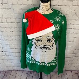 Jem Nordstrom ugly holiday sweater santa with hat